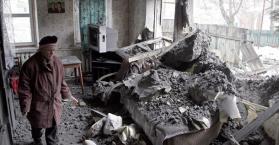 أحد المنازل الذي تعرض لقصف الانفصاليين