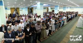 صلاة القيام في مسجد النور التابع للمركز الثقافي الإسلامي بالعاصمة كييف