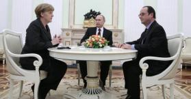 هولوند وميركل وبوتين يدعمون خططا لهدنة جديدة في شرق أوكرانيا