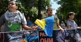 ضد العدوان الإسرائيلي.. تظاهرة تضامنية مع غزة في أوكرانيا