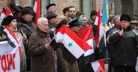 مؤيدو الأسد في أوكرانيا يتظاهرون ضد تركيا، ومناوئوه يشكرونها على مواقفها