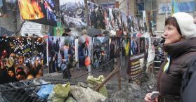 مدينة مصغرة للاحتجاج داخل ميدان الاستقلال في العاصمة الأوكرانية