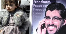 إحدى بنات ضرار أبو سيسي بجانب صورة والدها المختطف