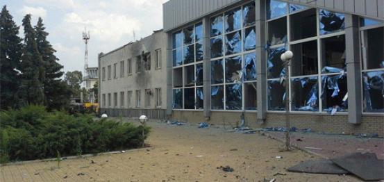 الدمار الذي لحق بمطار لوهانسك