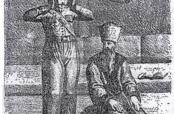 رسم أراد من خلاله الكاتب بيان أن خميلنيتسكي اعتنق الإسلام